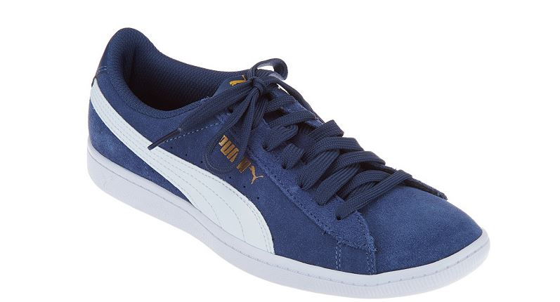 Puma Suede Lace Up Sneakers Vikky Classic Blue - NEW