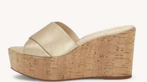 Vince Camuto Cross Band Wedges Kessina Metal Gold - NEW