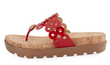 Eric Javits Donut Cutout Platform Sandals Red - NEW