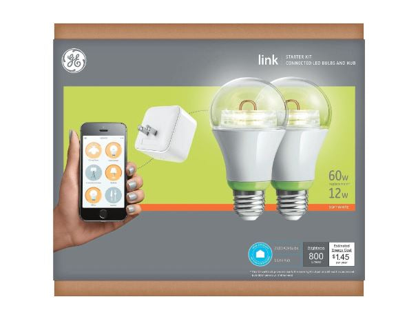 GE Link Starter Kit, 1 Hub and 2 A19 Light Bulbs - NEW