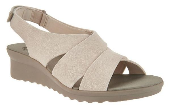 CLOUDSTEPPERS by Clarks Wedge Sandals Caddell Bright Pearl White - NEW