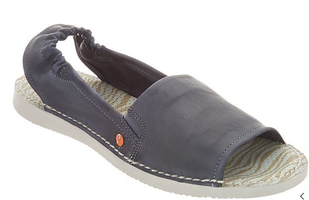 Softinos by FLY London Leather Slip-on Sandals Tee Navy - NEW