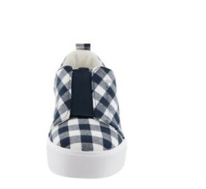 Isaac Mizrahi Live Gingham Printed Canvas Slip Dark Navy - NEW