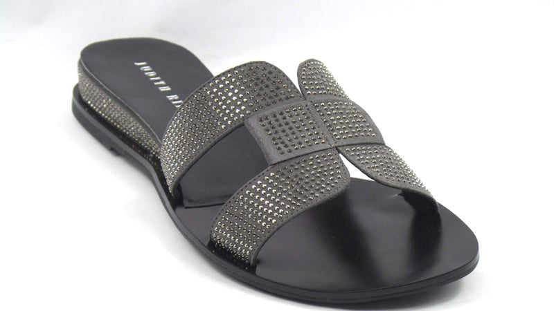 Judith Ripka Embellished Slide Sandals Sloane Pewter - NEW