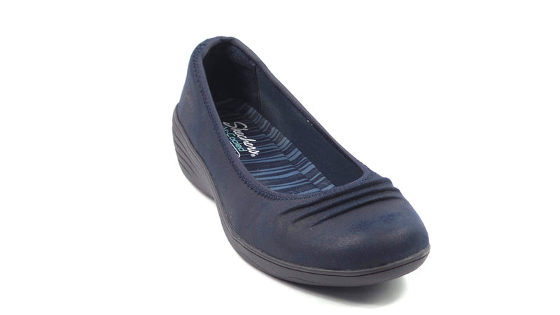 Skechers Skimmer Slip-On Wedges Ruffled Navy - A