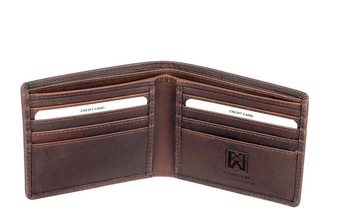 Karla Hanson Men's Leather Wallet with Eagle Brown - A