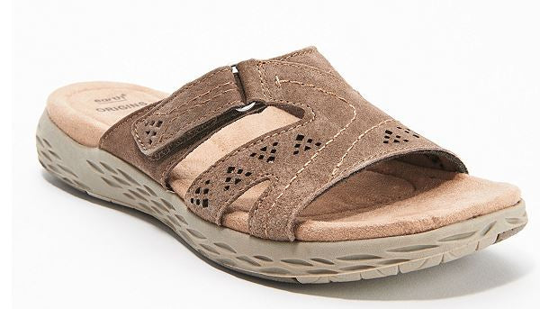 Earth Origins Suede Slide Sandals Westfield Waverly Sedona Brown - A