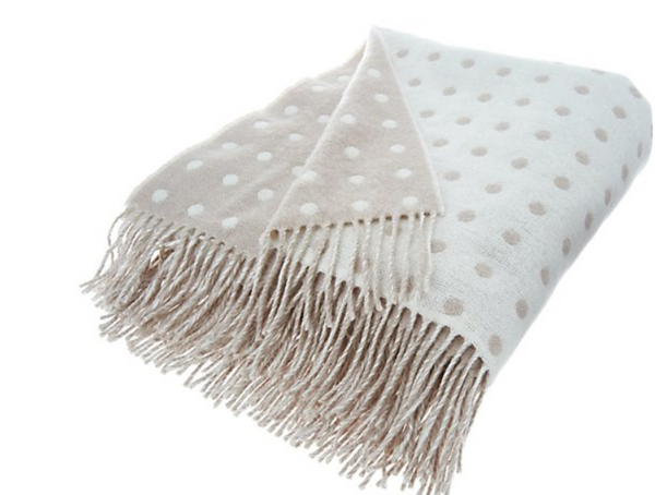 Foxford Woollen Mills Lambswool Polka Dot Throw Stone - A