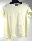 AnyBody Cozy Knit Side Tie T-Shirt with Pocket Cream - A