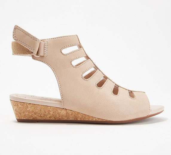Clarks Collection Leather Cutout Wedge Sandals Abigail Sing Blush - NEW