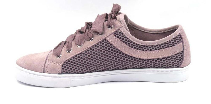 Isaac Mizrahi Live! SOHO Suede Lace-up Sneakers with Mesh Detail Lilac - NEW