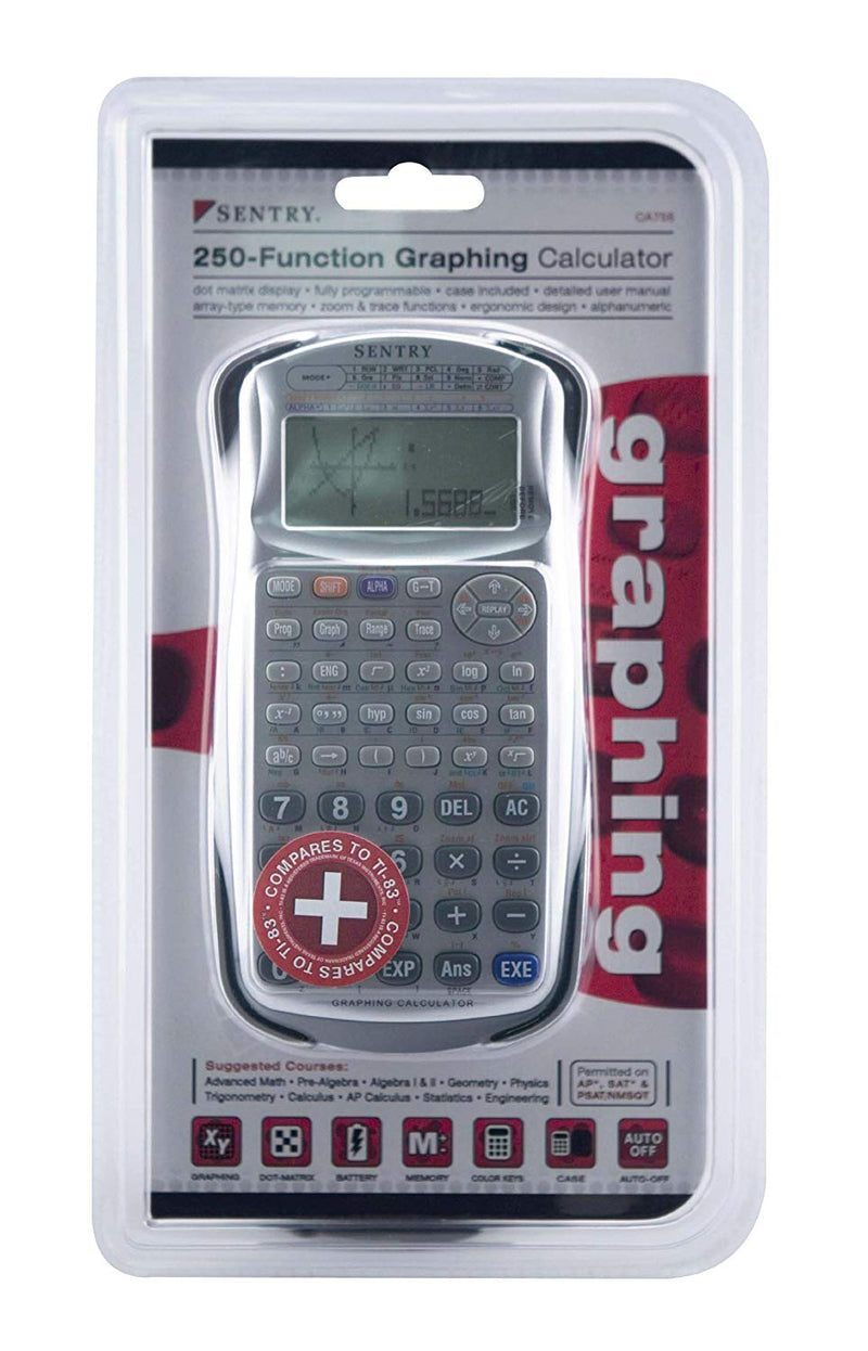 Sentry CA756 250-Function Graphing Calculator Silver