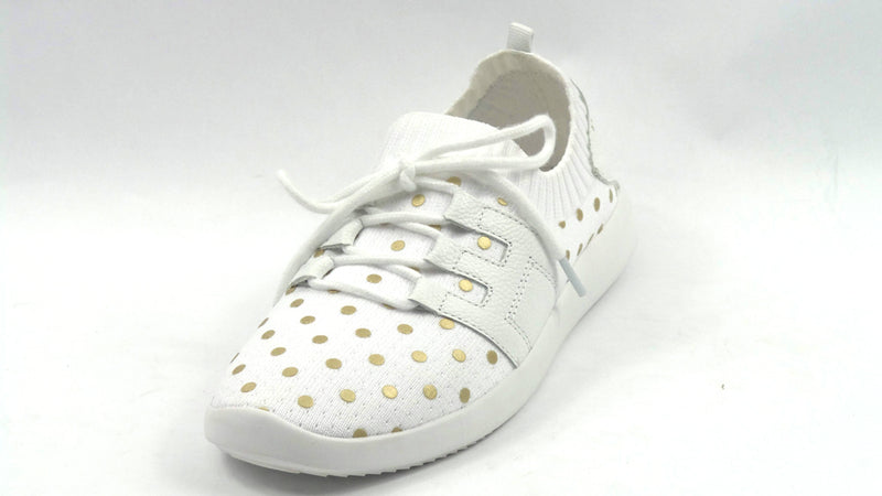 Isaac Mizrahi Live! Polka-Dot Lace-Up Knit Sneaker White - NEW