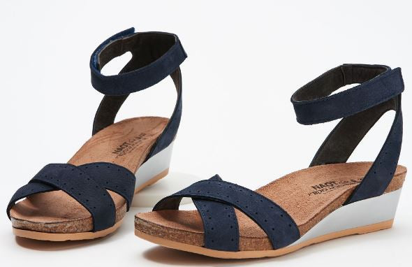Naot Nubuck Leather Ankle Strap Demi-Wedges Wand Navy - NEW