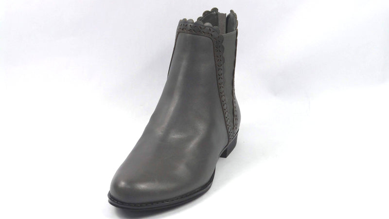 Isaac Mizrahi Live! Leather Ankle Boots Scallop Details Grey - NEW
