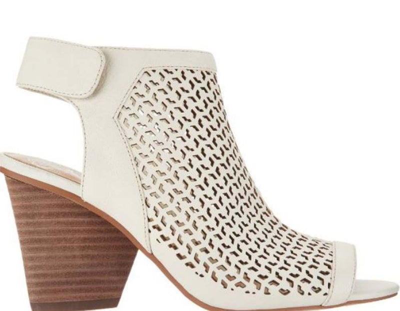 Vince Camuto Perforated Leather Peep- Toe Sandals Dastana Vanilla - A