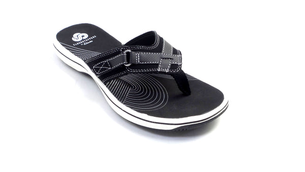 CLOUDSTEPPERS by Clarks Sport Thong Sandals - Breeze Sea Black - NEW