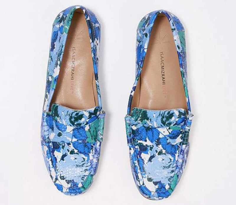 Isaac Mizrahi Live! Floral Printed Leather Moccasins Blue - NEW