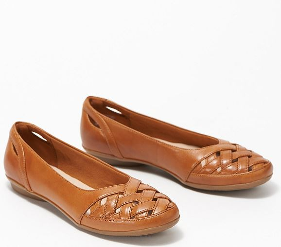 Clarks Collection Leather Flats Gracelin Maze Tan - NEW