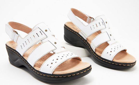 Clarks Collection Leather Cut-Out Sandals Lexi Qwin White - NEW