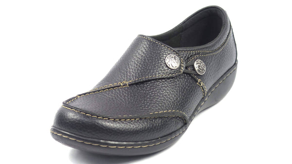 Clarks Collection Leather Slip-on Shoes Ashland Lane Black - NEW