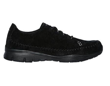 Skechers Suede Lace-Up Sneakers Seager Black - NEW