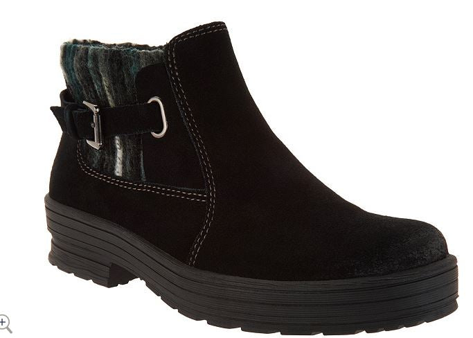 Earth Origins Water Repellent Suede Ankle Boots Tate Black - A