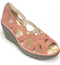 FLY London Leather Slip on Wedge Sandals Yadi Rose - NEW
