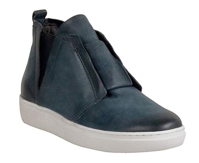 Miz Mooz Leather Slip-on Sneakers with Goring Laurent Slate - NEW
