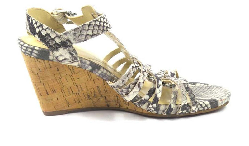 Isaac Mizrahi Leather Fisherman Wedge Sandals Snake - NEW