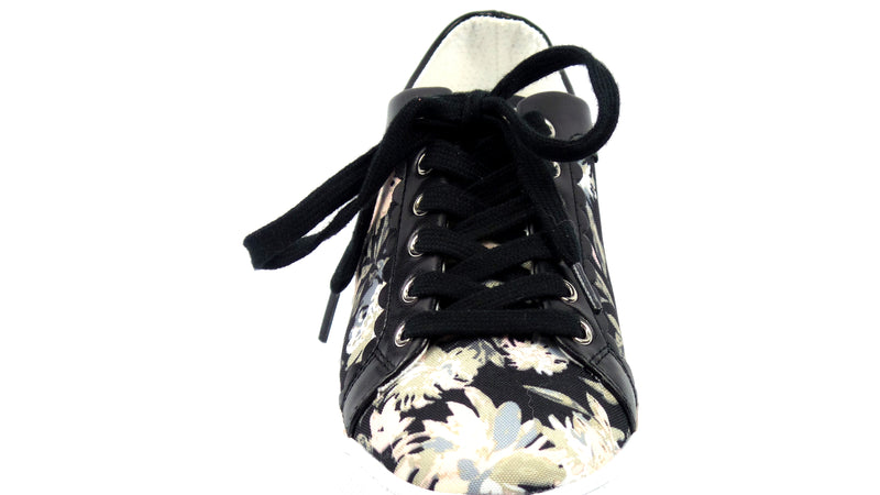 Isaac Mizrahi Live! Floral Printed Sneakers with Scallop Trim Neutral - A