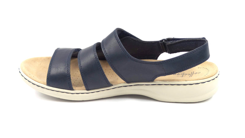 Clarks Collection Leather Sandals Leisa Melinda Navy - NEW