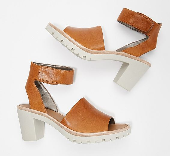 The Flexx Leather Ankle Strap Heeled Sandals Big Enough Cognac - NEW