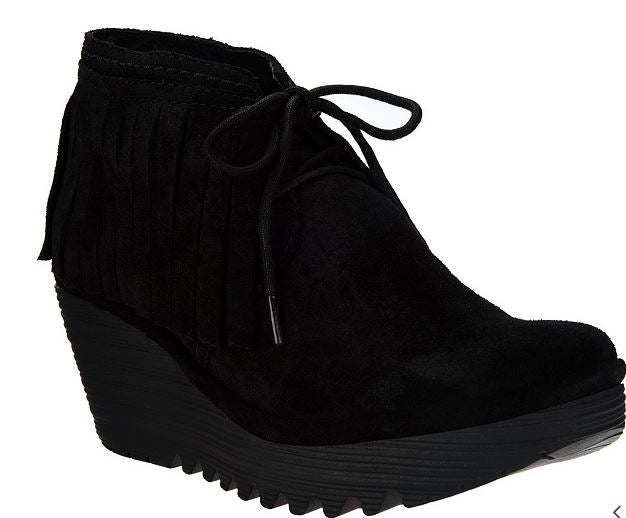 FLY London Suede Wedge Fringe Lace-up Ankle Boots - Yank Black - NEW