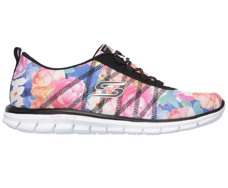 Skechers Floral Stretch-fit Bungee Sneakers Glider Posies Black/Multi - NEW