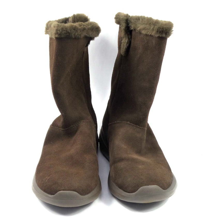 Skechers GOwalk Suede and Faux Fur Boots Stunning Chocolate - A