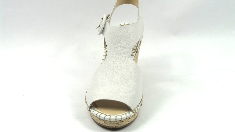 Marc Fisher Espadrille Wedge Sandals Sakae White Leather - NEW