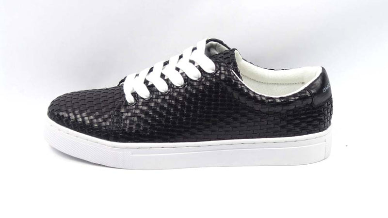 Isaac Mizrahi Live! Woven Fabric Tie Sneakers Black - NEW