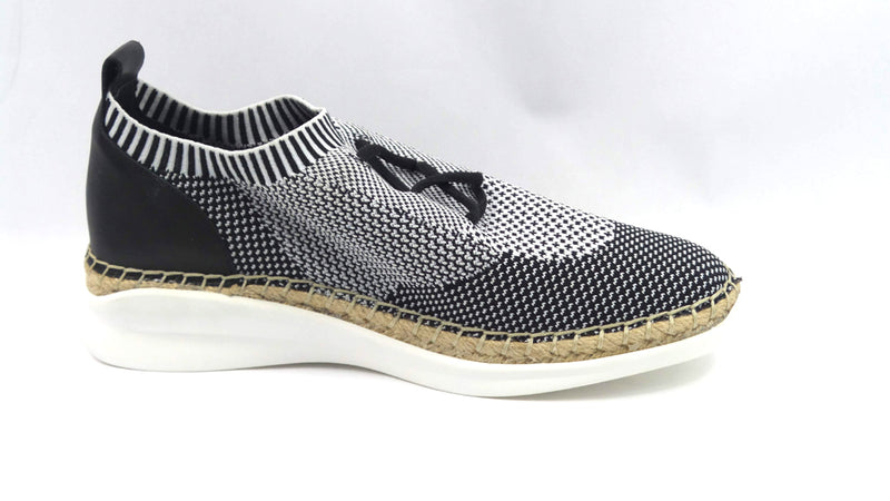 Vince Camuto Knit Sneakers with Jute Wrap Affina Black/White - A