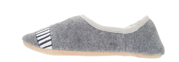 Joules Felt Embroidered Dog Slippers Slippets Grey - A