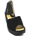 FLY London Perforated Leather Wedge Sandals Black - NEW