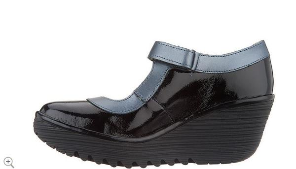 FLY London Leather Mary Jane Wedges Yert  Black Graphite - NEW