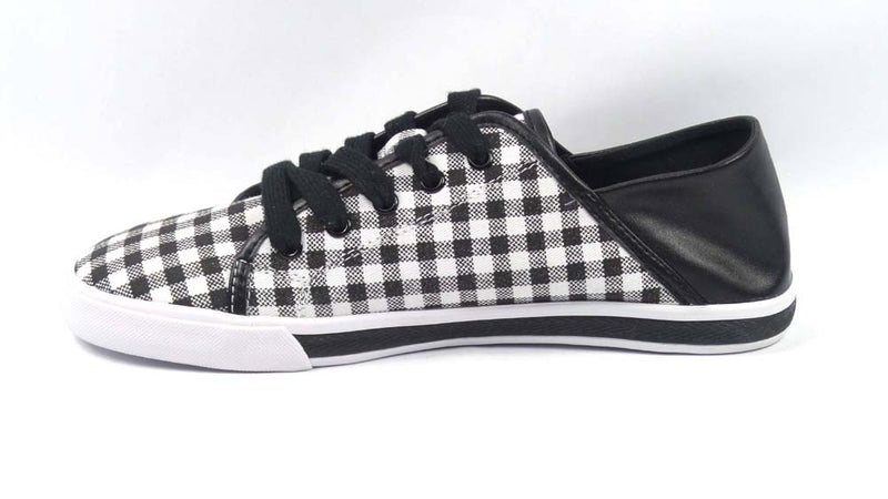 Isaac Mizrahi Live! Lace-Up Gingham Sneakers Black - A