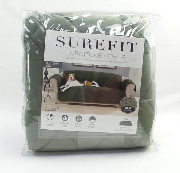 Sure Fit Sofa Plush Comfort Waterproof Furniture Cover Olive - NEW