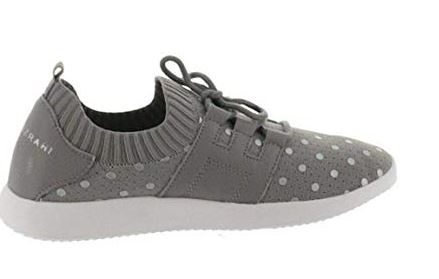 Isaac Mizrahi Live! Polka-Dot Lace-Up Knit Sneaker Grey - A