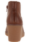 Clarks Collection Leather Slip On Wedge Boots Hazen Flora Tan - NEW