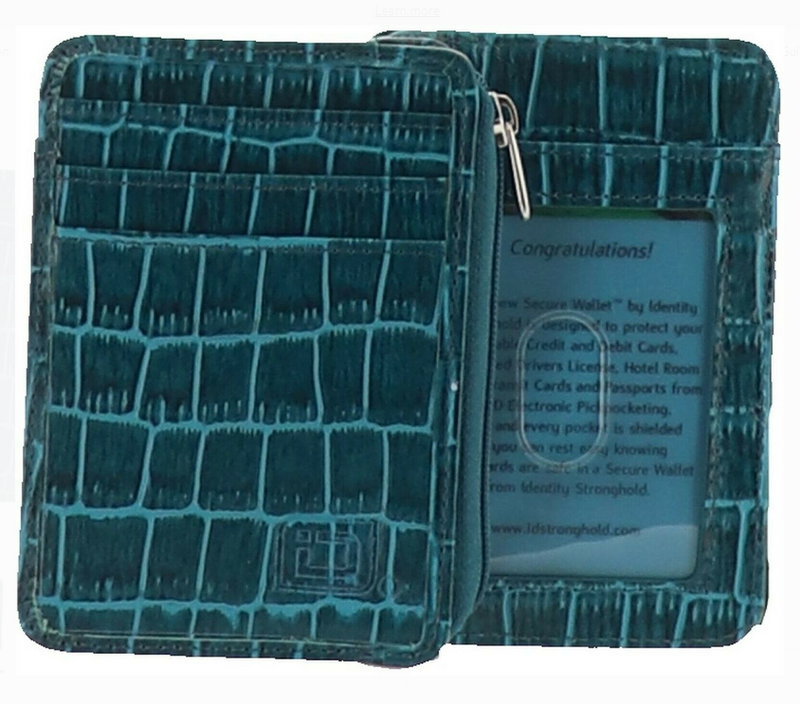 ID Stronghold RFID Set 2 Croco Minis Zipper Women's Blue - NEW