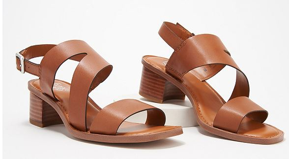 Franco Sarto Leather Heeled Sandals Lilah Light Brown - NEW