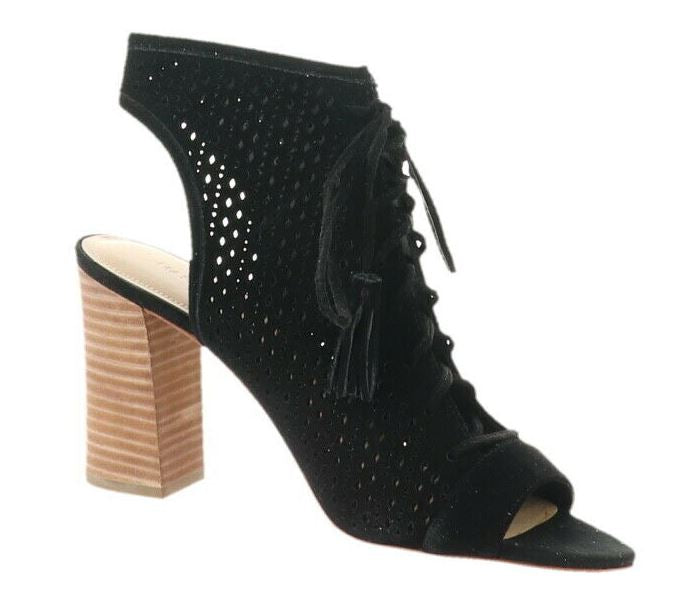 Marc Fisher Perforated Suede Lace-up Booties Satire Black - NEW