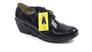 FLY London Leather Wedge Lace-up Shoes Palt Black - NEW
